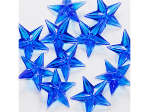 Acrylic Stars 1 1/2 inch Party or Craft Decorations 12 pieces - Color: Royal Blue