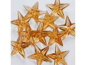 Acrylic Stars 1 1/2 inch Wedding or Party decorations 43 Pieces - Color: Light Brown