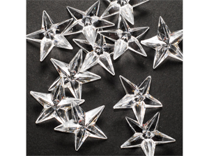 Acrylic Stars 1 1/2 inch Wedding or Party decorations 43 Pieces - Color: Clear