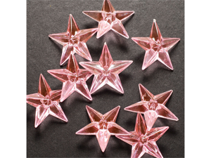 Acrylic Stars 1 1/2 inch Wedding or Party decorations 43 Pieces - Color: Light Pink