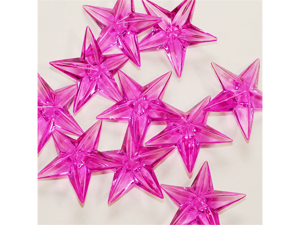 Acrylic Stars 1 1/2 inch Wedding or Party decorations 43 Pieces - Color: Fuchsia
