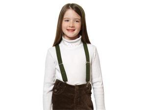 "Solid Color Kids Elastic Suspenders - Olive (26"")"