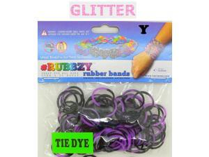 Rubbzy 100 pc Special Edition Tie Dye/Glitter Rubber Bands w/ 4 Connectors (#760)