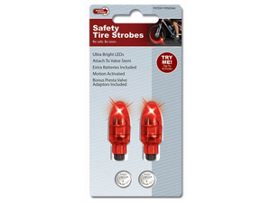 Buztronics Safety Strobes Valve Stem Lights Presta/Schrader Red