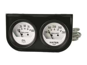 Auto Meter 2323 Autogage White Oil/Water Gauge Black Console