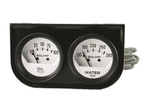 Auto Meter 2323 Autogage White Oil/Water Gauge Black Console