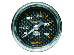 Auto Meter Carbon Fiber Mechanical Oil Pressure Gauge