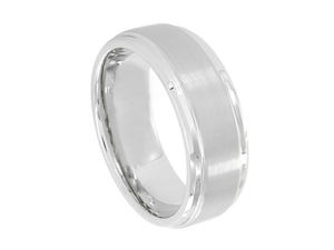 Cobalt Flat Brushed Center Polished Shiny Edge 9mm Wedding Band Ring
