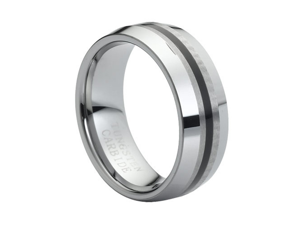 Tungsten Carbide Polished Knife Edge with Black Rubber Inlaid Center 8mm Wedding Band Ring