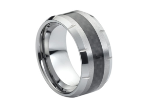 Tungsten Carbide with Black Carbon Fiber Inlay Multiple Grooved Edge Wedding Band Ring