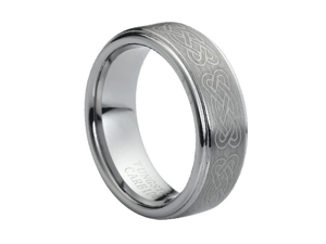 Tungsten Carbide Laser Engraved Celtic Knot Pattern 8mm Wedding Band Ring