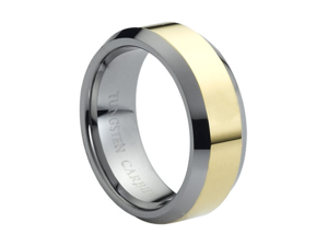 Tungsten Carbide Polished Shiny Gold Plated Center & Beveled Edge 8mm Wedding Band Ring