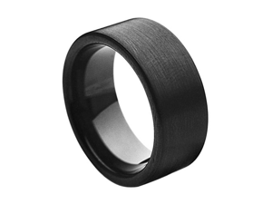 Tungsten Carbide Black Enamel Plated Brushed Pipe Cut Band 9mm Wedding Band Ring