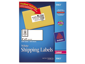 Avery Consumer Products AVE5963 Laser Labels- Mailing- Permanent- 2in.x4in.- White