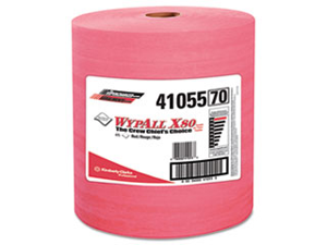 WYPALL X80 Wipers, HYDROKNIT Roll, 12 1/2 x 13 2/5, Red, 475/Roll, 1 R