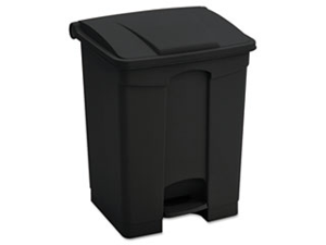 Large Capacity Plastic Step-On Receptacle, 23 gal, Black