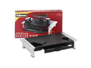 Office Suites Premium Monitor Riser, 27 x 14 x 4 1/4, Black/Silver