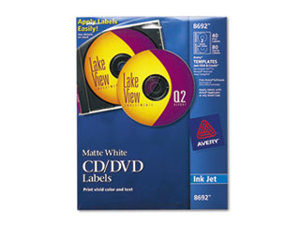 Avery  Inkjet CD-DVD Labels, Matte White, 40-Pack, PK - AVE8692