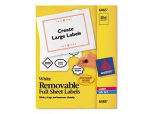 Removable Inkjet/Laser Id Labels, 8-1/2 X 11, White, 25/Pack