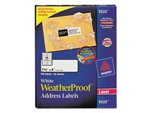 Avery Consumer Products AVE5522 Weatherproof Mailing Labels- 1-.33in.x4in.- White