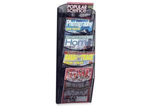 Onyx Mesh Literature Rack, Five Compartments, 10-1/4W X 3-1/2D X 28-1/