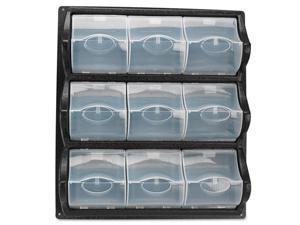 Polypropylene Panel Storage W/9 Bins, 18 3/8 X 5 1/4 X 20 1/2, Black