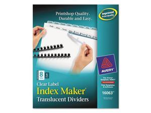 Index Maker Unpunched Clear Label Dividers, 8-Tab, Letter, 5 Sets/Pack