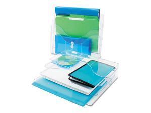 Three-Tier Document Organizer, Plastic, 13 3/8 X 3 1/2 X 11 1/2, Clear