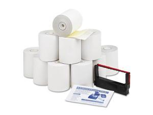 "Paper Rolls, Credit Verification Kit, 3"" X 90 Ft, White/Canary, 10/Car"