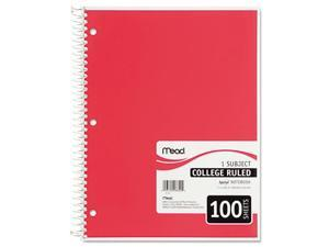 Mead MEA06622 Spiral Notebook- 1-Subject- College Rule- 100 Sh- 11in.x8-.50in.- Ast