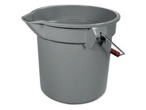 "Rubbermaid Commercial 14-Quart Round Utility Bucket, 12"" Diameter x 11-1/4""h, Gray Plastic"