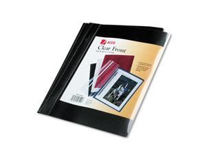 """Vinyl Report Cover, Prong Clip, Letter, 1/2"""" Capacity, Clear Cover/Bla"""