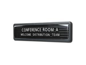 "Magnetic Wall/Desk Nameplate, Radius Edge, Dark Gray Plastic Base, 3""H"