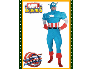 Captain America Deluxe Adults Small Costume With Muscle