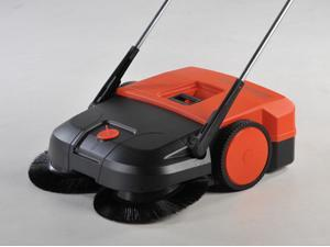 """Highly Efficient, Easy To Operate, 21"""" Wide, Dual Brush System Sweeper.  The 2 Brushes rotate in opposite directions thrusting ..."""