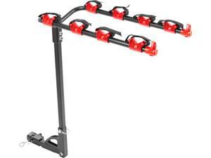"4-Bike Hitch Mounted 1-1/4"" or 2"" Receiver Bicycle Carrier Rack"