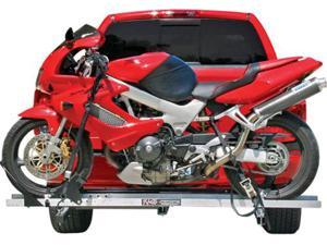 "Hitch Mounted Aluminum Sport Bike & Motorcycle Carrier with a 600 lb. Capacity and 72"" Loading Ramp"
