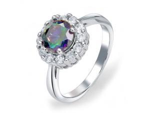 Bling Jewelry 925 Sterling CZ Crown Mystic Rainbow Topaz Color Engagement Ring