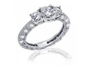 Bling Jewelry Vintage Round CZ Sterling Silver Engagement Wedding Ring 1.25ct