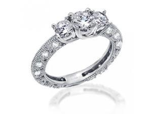 Bling Jewelry Vintage Pave CZ Sterling Silver Engagement Wedding Ring 1.25ct