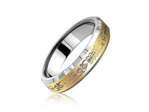 Bling Jewelry Gold Celtic Dragon Tungsten Ring Comfort Fit 5mm
