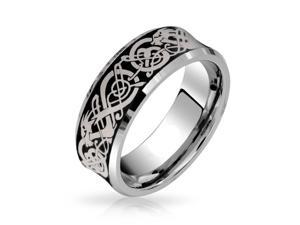 Bling Jewelry Comfort Fit Concave Black Celtic Dragon Tungsten Wedding Band Ring