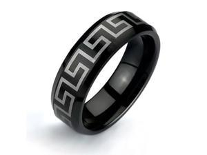 Bling Jewelry Black Greek Key Design Tungsten Ring 8mm