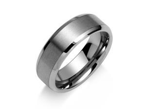 Bling Jewelry Brushed Matte Center Unisex Tungsten Ring 8mm