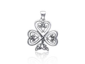 Bling Jewelry Celtic Knot Heart Clover Sterling Silver Pendant