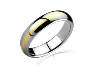 Bling Jewelry Gold Plated Two Tone Tungsten Wedding Band Ring 6mm