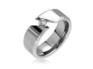 Bling Jewelry Smooth Tension Set Tungsten Ring 8mm