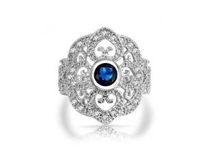 Bling Jewelry Blue Sapphire Color CZ Vintage Heart Gatsby Inspired Armor Ring