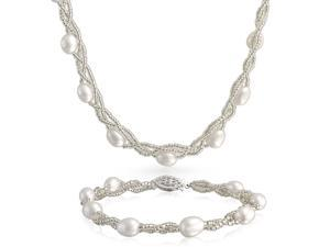 Bling Jewelry Sterling Silver Baroque Freshwater Pearl Necklace and Bracelet Set