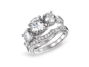 Bling Jewelry 925 Sterling CZ Three Stone Wedding Engagement Ring Set Vintage